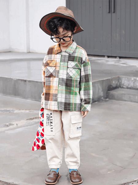 名書曼秀童裝品牌2021秋季拼接色格子襯衫套裝