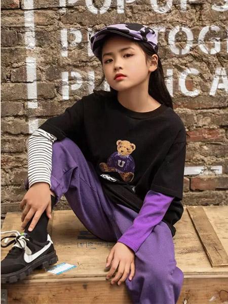 城秀童裝品牌2021秋季潮流小熊刺繡印花上衣