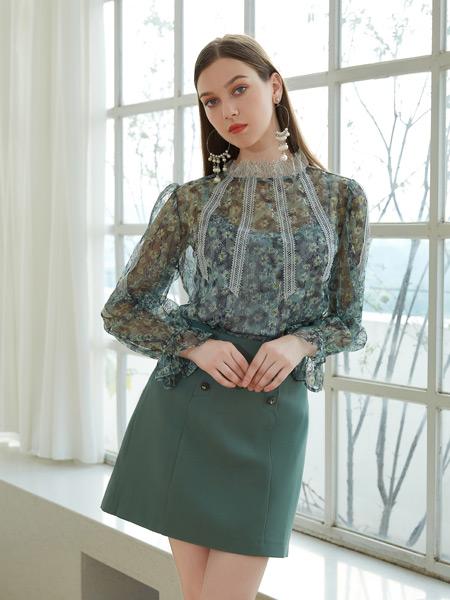 金蝶茜妮女装品牌2021秋季蕾丝刺绣圆领衬衫