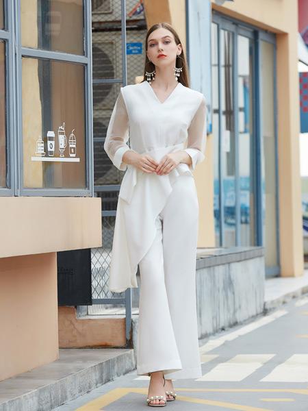 金蝶茜妮女装品牌2021秋季V领蕾丝手袖上衣套装