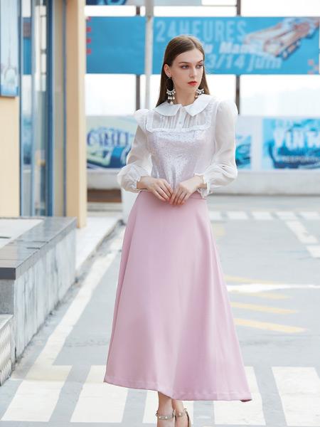 金蝶茜妮女装品牌2021秋季翻领蕾丝手袖上衣套装