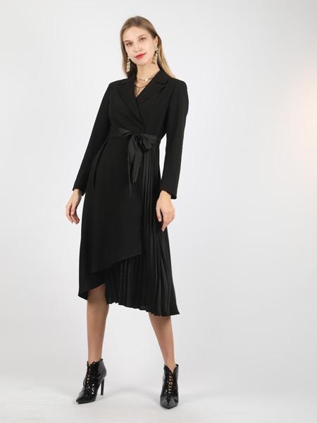 SASLAX莎斯莱思女装品牌2021秋季黑色收腰蝴蝶结连衣裙