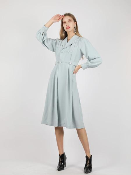 SASLAX莎斯莱思女装品牌2021秋季修身翻领系带连衣裙