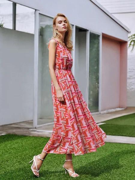 爱特爱女装品牌2021夏季高腰显瘦印花连衣裙
