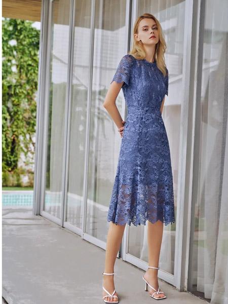 爱特爱女装品牌2021夏季蕾丝刺绣连衣裙