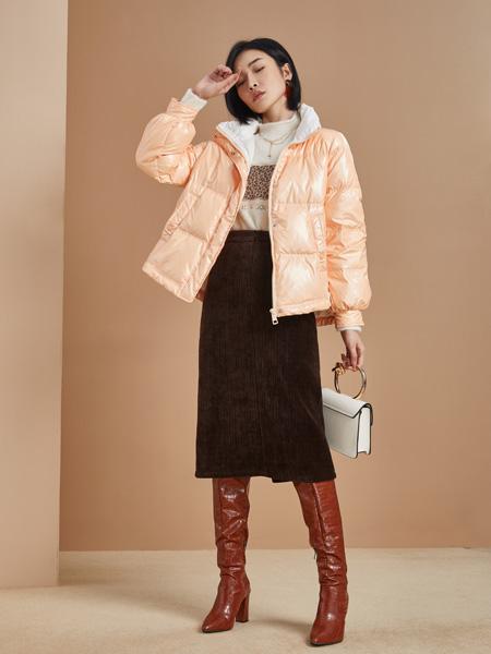 城市衣柜女装品牌2021秋季亮色橙色薄款羽绒服