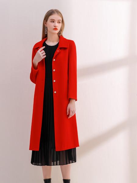 艾丽哲女装品牌2021秋季气质红色长款外套