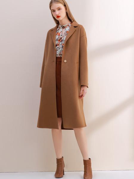 艾丽哲女装品牌2021秋季咖色风衣外套