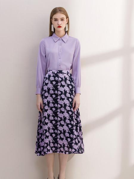 艾麗哲女裝品牌2021秋季拼接色印花半身裙套裝