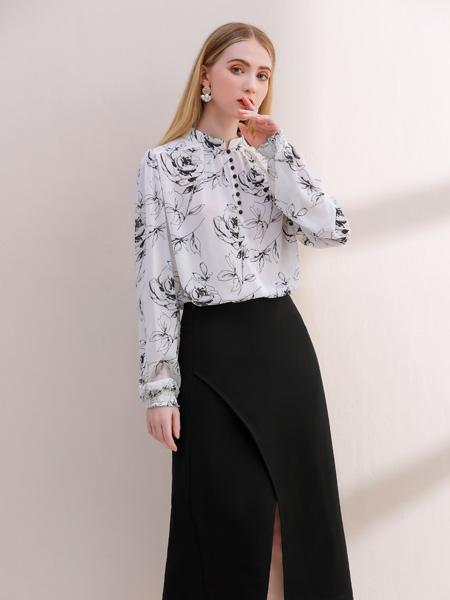 艾麗哲女裝品牌2021秋季時尚印花襯衫