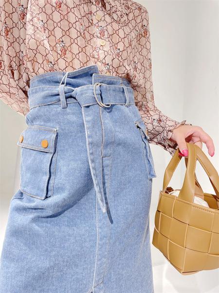 樱语茉莉女装品牌2021秋季显瘦系带牛仔裙