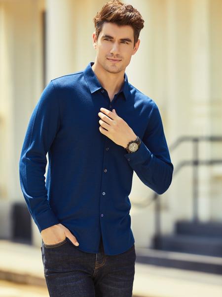 步西尼男裝品牌2021秋季藍色翻領襯衫