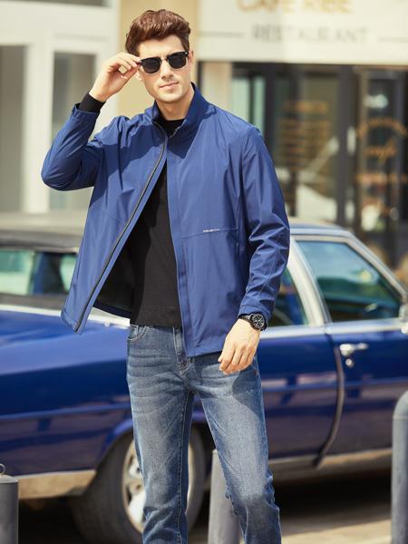 步西尼男装品牌2021秋季蓝色刺绣休闲外套