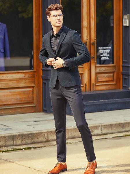 步西尼男装品牌2021秋季英伦纯色西装套装