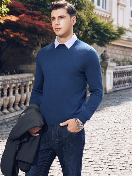 愛迪丹頓男裝品牌2021秋季純棉針織衫上衣