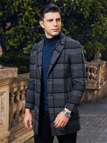 爱迪丹顿男装品牌2021秋季格子纹路中长款外套