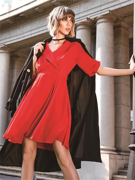 37°生活美學女裝品牌2021秋冬氣質紅色V領顯瘦連衣裙