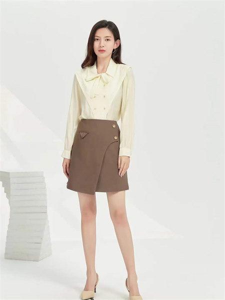 EMIVA艾蜜唯娅女装品牌2021秋季百搭纯色A字裙