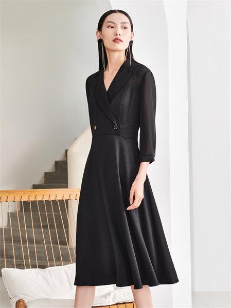 圣可尼女裝品牌2021秋季V領顯瘦連衣裙