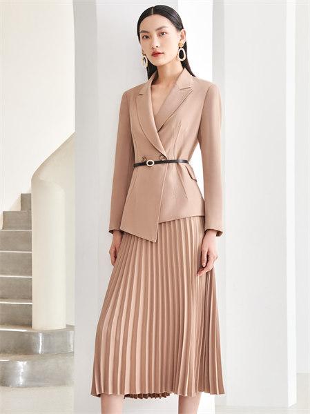 圣可尼女裝品牌2021秋季修身系帶外套套裝