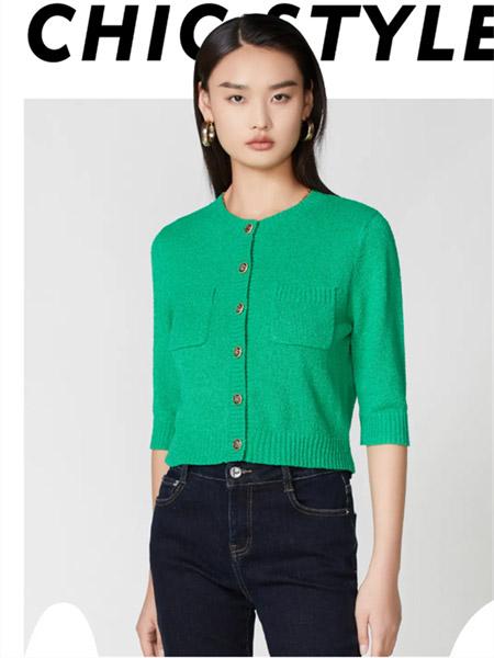 真我永恒女装品牌2021秋季绿色圆领开衬针织衫