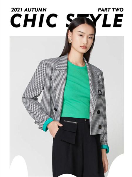 真我永恒女装品牌2021秋季格子纹路小西装外套