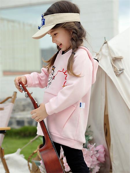 摩米童装品牌2021秋季公主刺绣卫衣套装