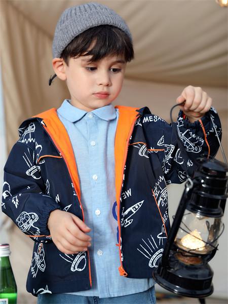 摩米童裝品牌2021秋季藍色翻領襯衫