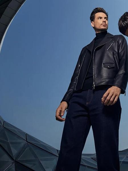 量品男装品牌2021秋季潮流时尚牛仔皮衣外套