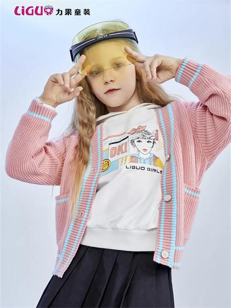 力果童装品牌2021秋季粉色条纹针织衫