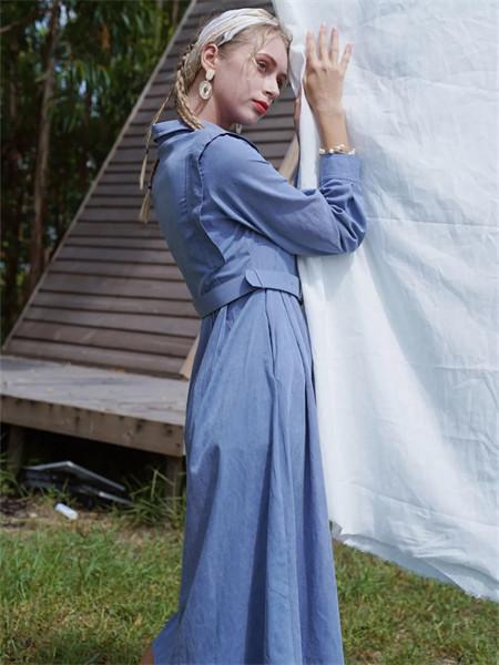薇薇希女裝品牌2021秋季藍色修身翻領襯衫兩件套