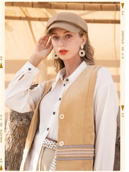 薇薇希女裝品牌2021秋季純色純棉針織馬甲套裝