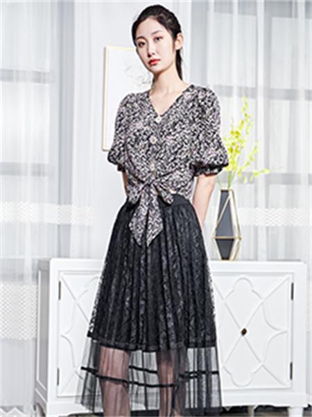 汀丁可女装品牌2021夏季V领系带衬衫套装