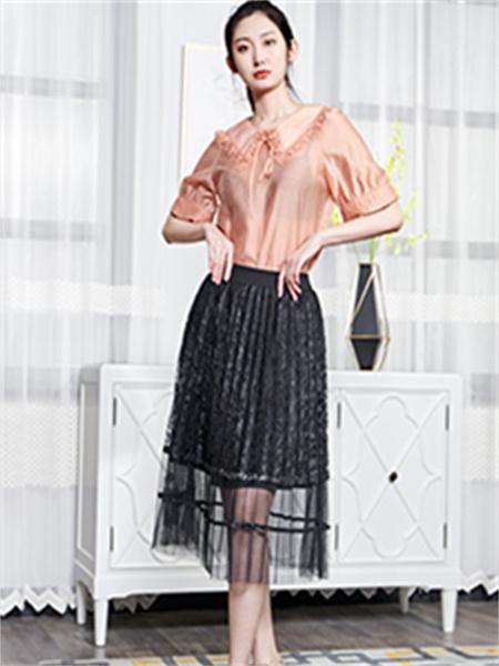 汀丁可女装品牌2021夏季雪纺褶皱边衬衫