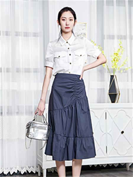 汀丁可女装品牌2021夏季高腰褶皱半身裙