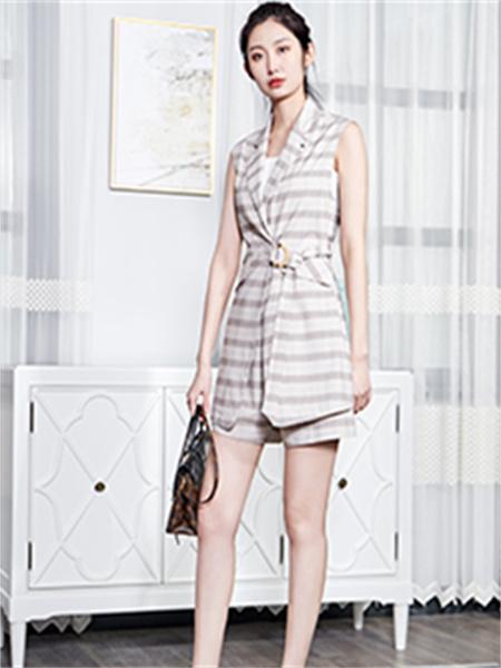 汀丁可女装品牌2021夏季V领系带收腰显瘦两件套