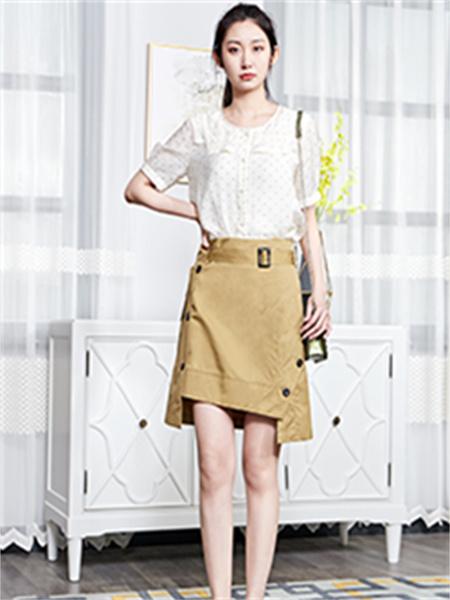 汀丁可女装品牌2021夏季圆领波点衬衫