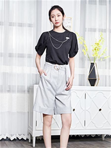 汀丁可女装品牌2021夏季圆领刺绣纯棉T恤