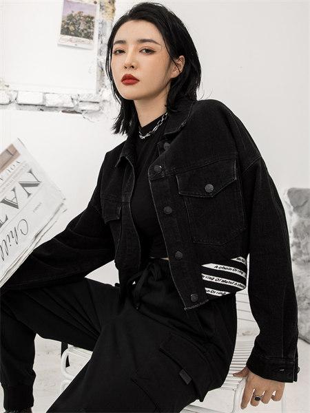 拓谷TUOGU原创设计师潮牌女装品牌2021秋季补丁条纹印花牛仔外套