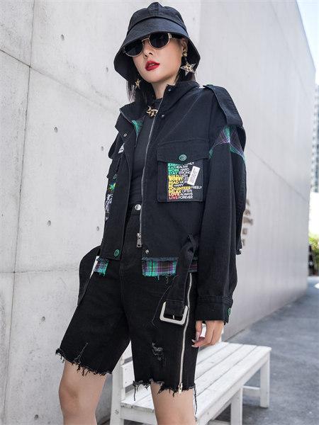 拓谷TUOGU原创设计师潮牌女装品牌2021秋季休闲撞色印花补丁外套