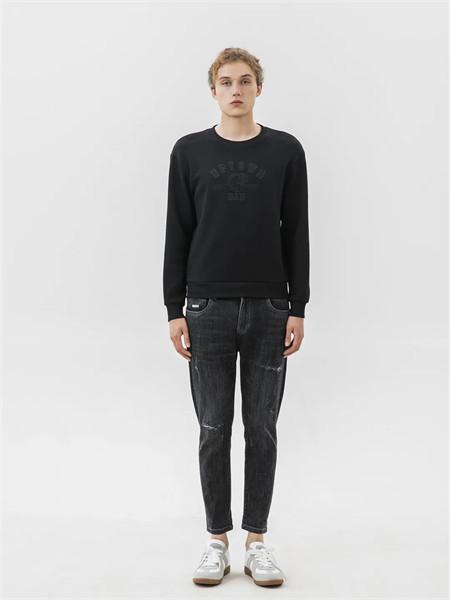 格度·佐致男装品牌2021秋季纯色条纹牛仔9分裤