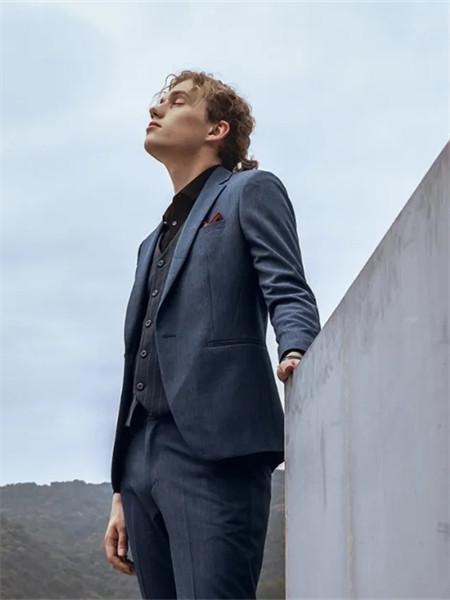 格度·佐致男装品牌2021秋季系带蓝色西装套装