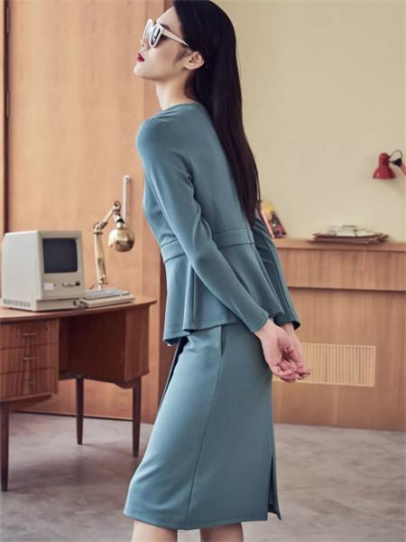 艾璞琪女裝品牌2021秋季純色修身時尚兩件套