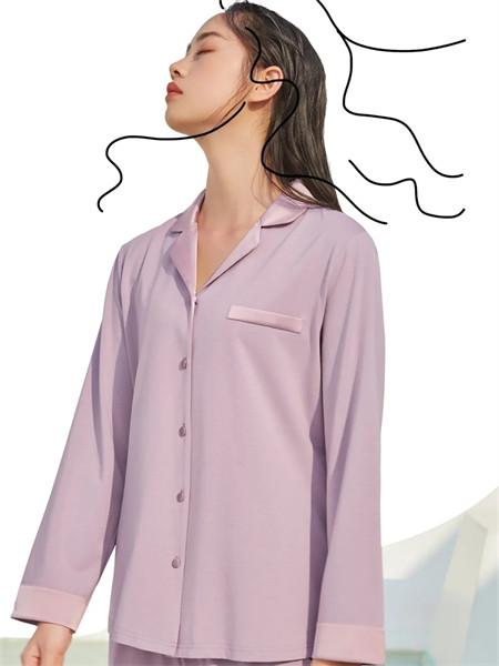 梵��卡波内衣品牌2021秋季紫色纯棉休闲翻领家居服