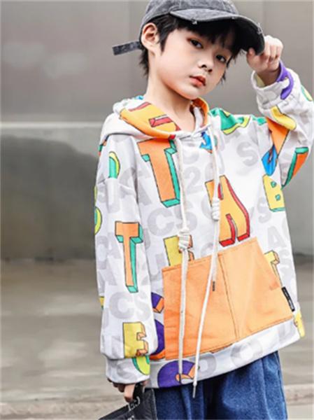 名書曼秀童裝品牌2021秋季潮流時尚補丁刺繡衛衣