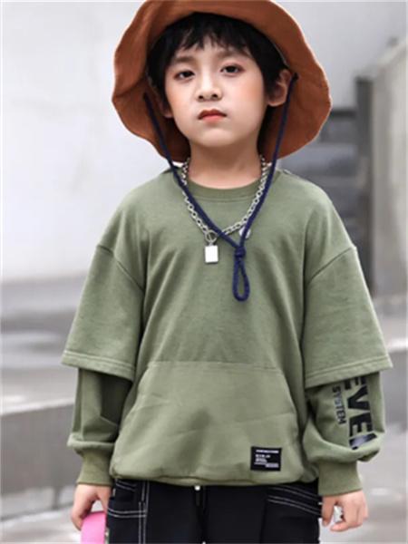 名書曼秀童裝品牌2021秋季純色不規則刺繡上衣