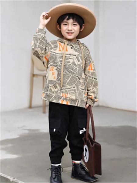 名書曼秀童裝品牌2021秋季韓版英文刺繡衛衣