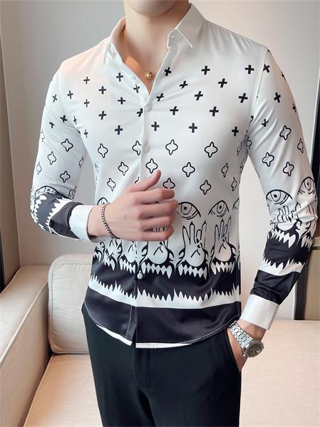 PLOVER(啄木鸟)男装品牌2021秋季印花刺绣速干衬衫