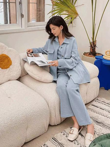 F.SHINE女装品牌2021秋季纯色休闲时尚套装
