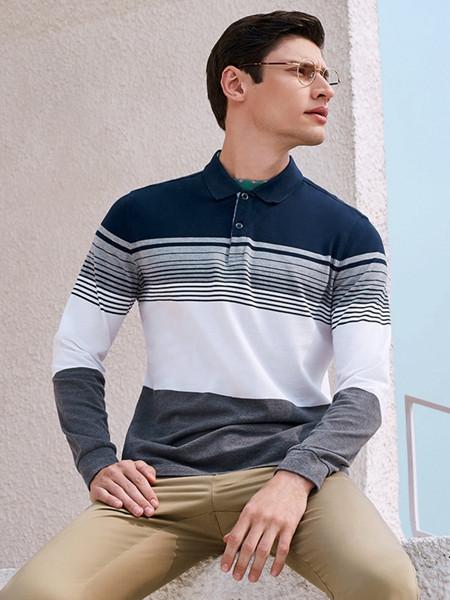 乔治邦尼男装品牌2021秋季撞色条纹翻领衬衫